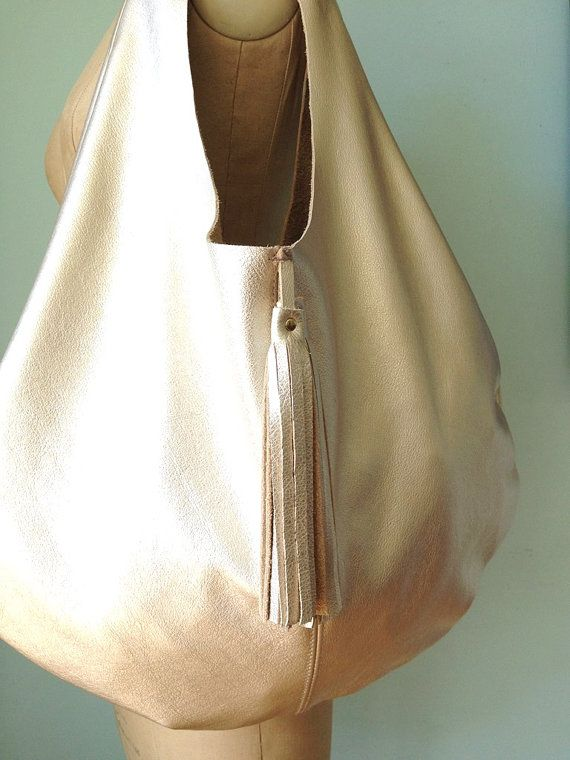 Leather hobo bag gold leather slouch bag leather by GingerandBrown