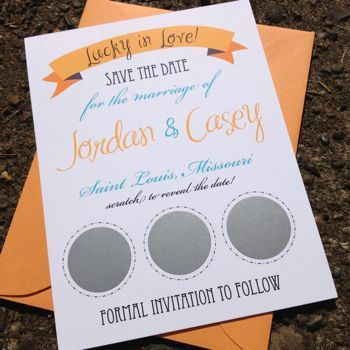 Scratch Off Lottery Ticket Save The Date by FreshPaperStudios