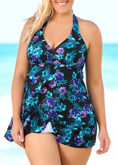 58d8acf23e1 Halter Neck Floral Print Plus Size Swimdress and Shorts | modlily ...