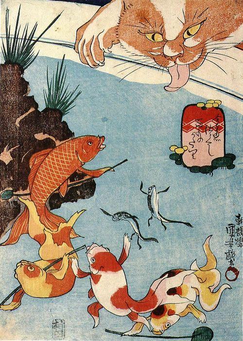 Art, Ukiyoe, Woodblock Print, Japan, Animal, Cat, Fish. UTAGAWA Kuniyoshi, Japan (1839)
