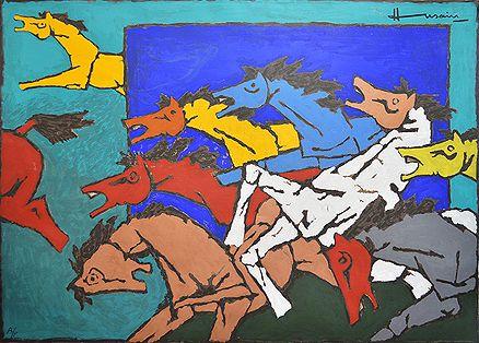 Maqbool Fida Husain - Horse @ Serigraphs III: M F Husain | StoryLTD.com I #Indianart #MFHusain #Modern art