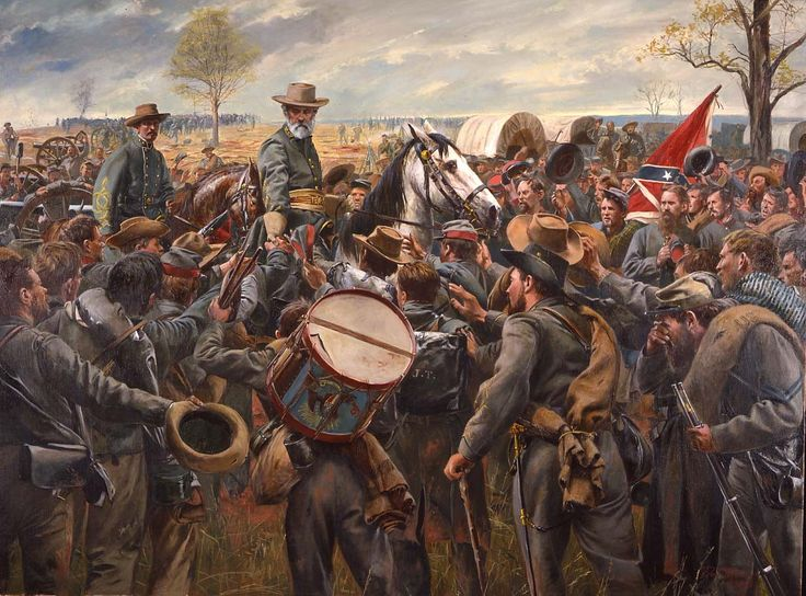 Robert E Lee with Confederate soldiers during the American Civil War. http://simon-rose.com/books/etc/historical-background/