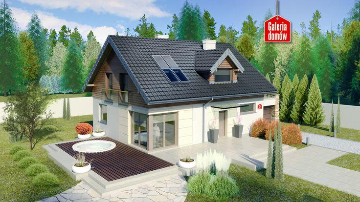 Dom przy Alabastrowej 5. Gotowy projekt domu parterowego z poddaszem, z garażem…