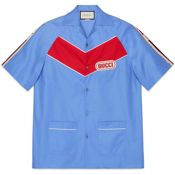 Gucci Bowling Shirt With Gucci Patch ($855) ❤ liked on Polyvore featuring men's fashion, men's clothing, men's shirts, men's casual shirts, men, ready-to-wear, shirts, mens red shirt, mens bowling shirts and mens casual long sleeve shirts