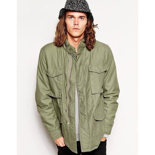 Cheap Monday Field Jacket ($79) ❤ liked on Polyvore featuring men's fashion, men's clothing, men's outerwear, men's jackets, green, tall mens jackets, mens green jacket, mens army green jacket, mens cotton jacket and mens cotton military jacket