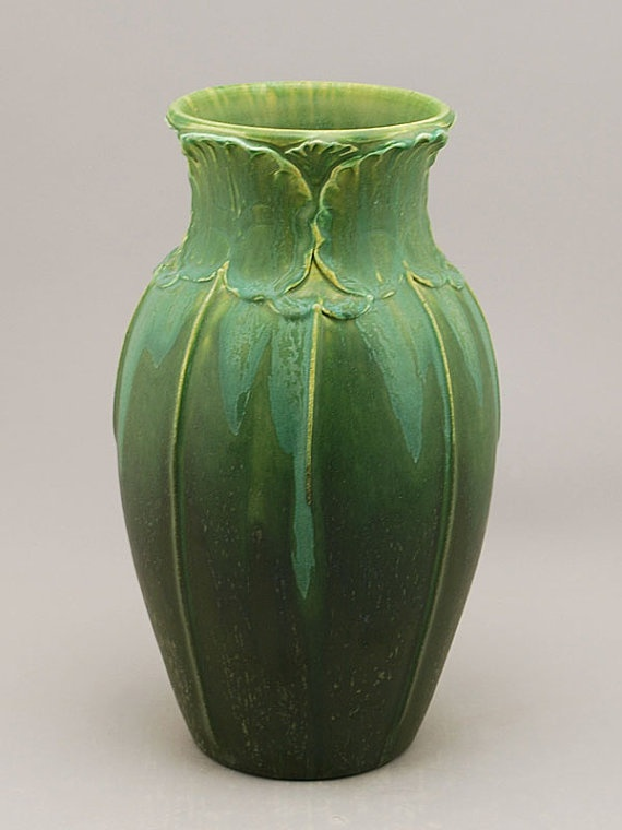 Lotus Vase in Northern Light Green by Door Pottery-Arts and Crafts Style-Handmade Art Pottery
