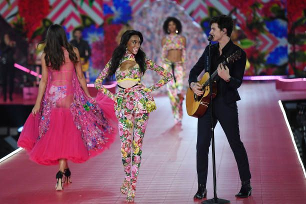 d4b34380136 Winnie Harlow walks the runway as Shawn Mendes performs during the 2018 Victoria s  Secret Fashion Show at Pier 94 on November 8 2018 in New York City