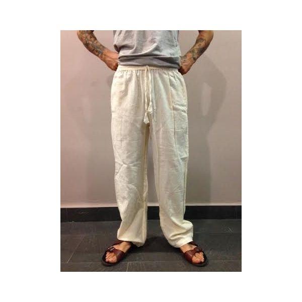 Pantalón hippie de algodón 100% natural largo hecho en Nepal. Ideal para yoga o meditación. Con bolsillos.