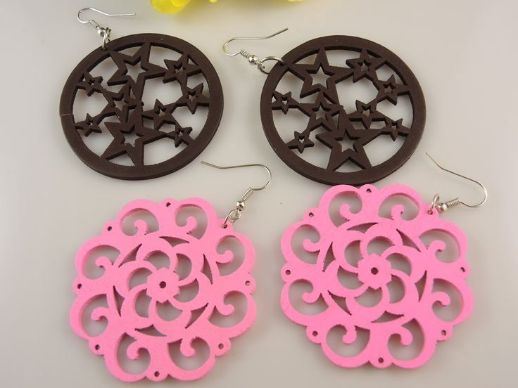 Light weight Wood Dangle Earrings. 2 pair set $8.50