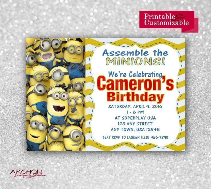 Minions Birthday Party Invitations - Headline in Red - Printable & Personalized - A-00031