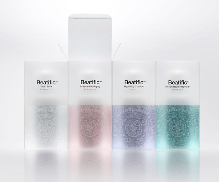 Mousegraphicsrecently designed the new look for skincare line: Beatific. Their main target are women who are aware of the benefits of cosmeceuticals and can appreciate the results of thorough clinical research and high end care.