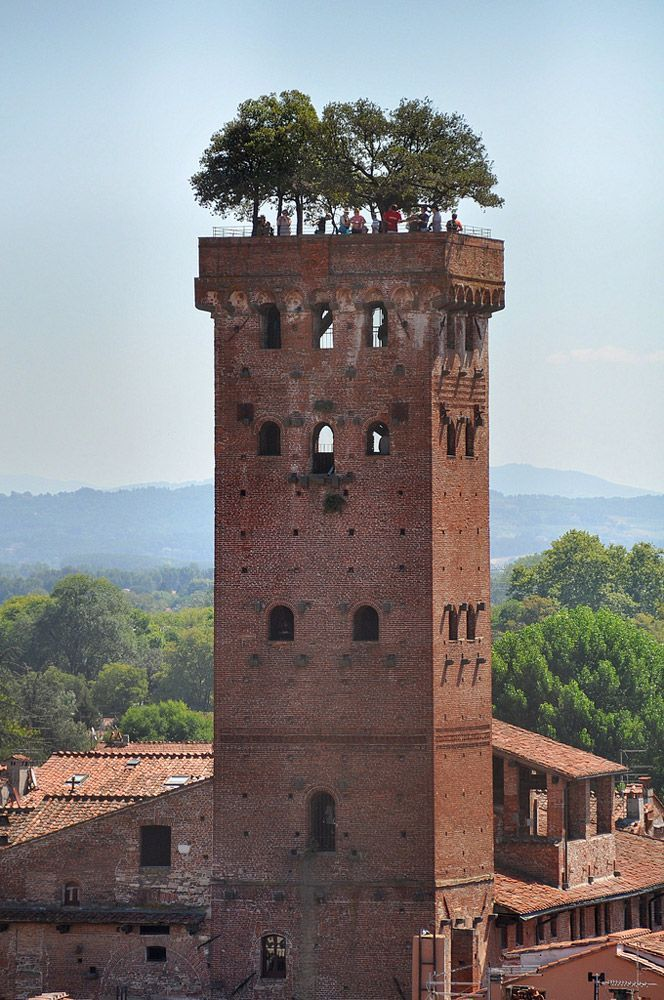 Lucca's Guinigi Tower is crowned by seven holm oaks, built in the 15th C. This tree-lined tower still stands with its magnificent garden.