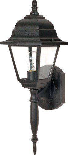 Nuvo 60/542 Textured Wall Lantern with Clear Glass, Textured Black by Nuvo. $27.13. Textured black wall lantern with clear glass (long & short tail provided). (1) 60-Watt A19 medium base bulb not included.
