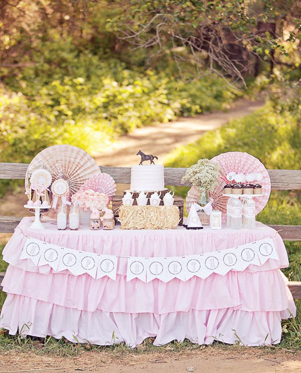 Shabby Chic Cowgirl Party Dessert Table – Styling, paper goods & ruffle tablecloth: Paiges of Style – Photography: Nicole Benitez Photography – Cake Pops: Call Ball Love