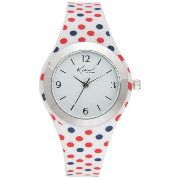 Kim Rogers White Womens Red  Blue Polka Dot Silicone Strap Watch -... ($21) ❤ liked on Polyvore featuring jewelry, watches, white, kim rogers watches, white wrist watch, kim rogers, red jewelry and red watches