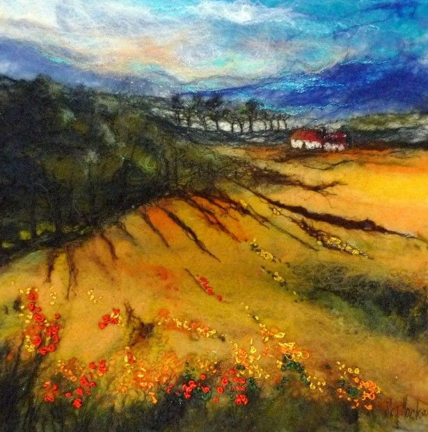 Moy Mackay_Cornfield & Poppies_Felted Merino_14.5x14.5   Scottish Contemporary Art