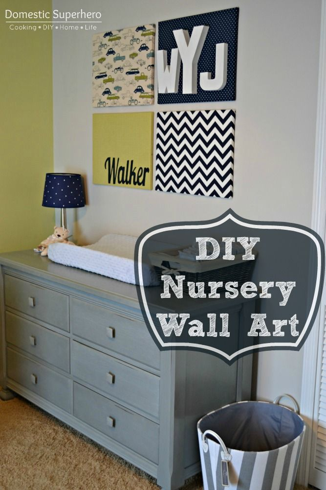 DIY Nursery Wall Art. What a great way to get your craft on and add some color to the nursery.