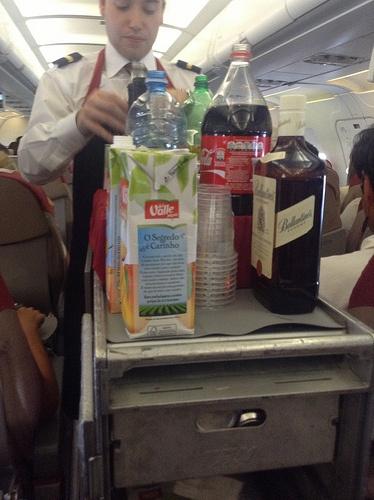 Free alcohol drinks on short haul flights.  TAM airline flight Montevideo-Rio economy