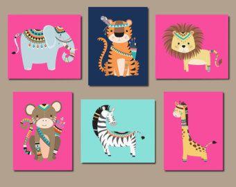 Selva animales arte de pared de dormitorio bebé niña por vtdesigns
