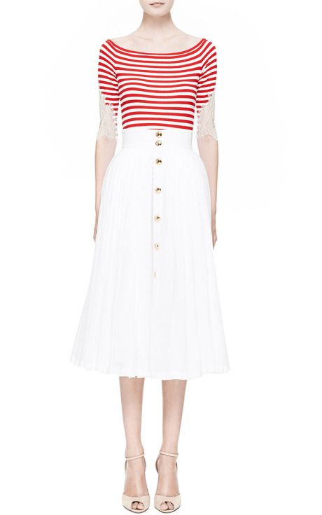 Red Striped Top With Lace by Natasha Zinko for Preorder on Moda Operandi