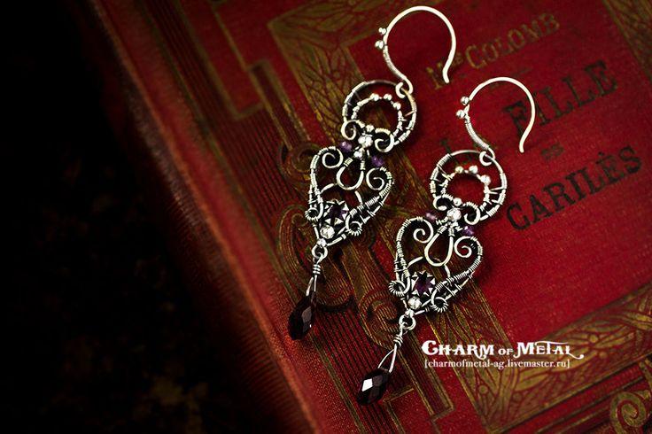 """Купить """"Your Highness"""" Серебряные серьги - украшение, фиолетовый, серебро, wire, wrap, королева, королевский"""