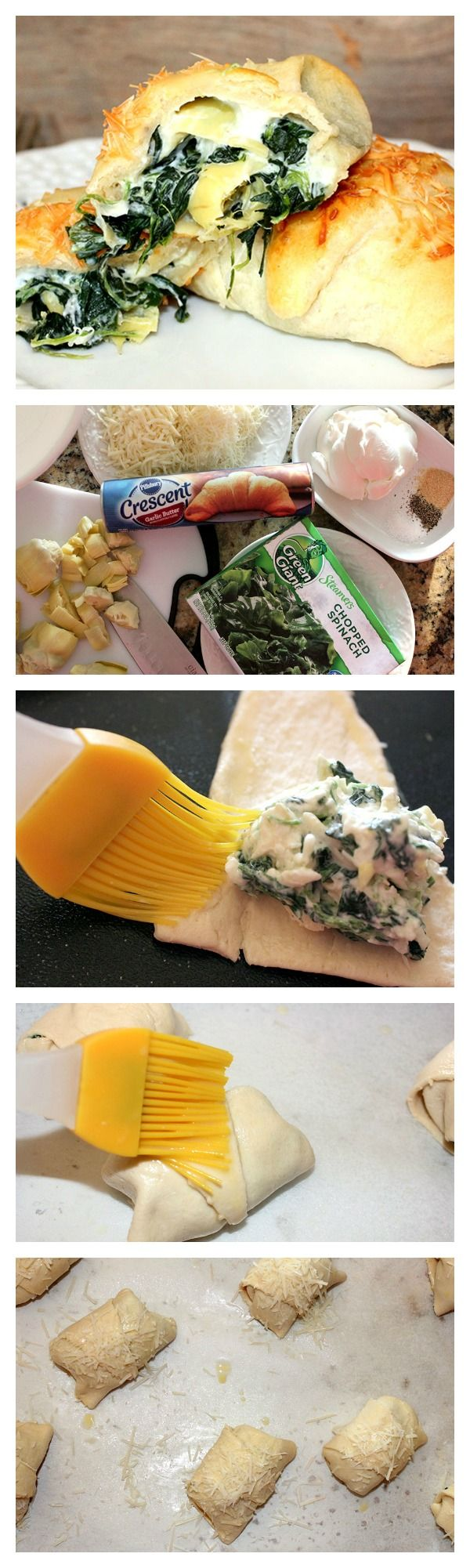 Crescents stuffed with spinach and artichoke dip make for a delicious game day app!