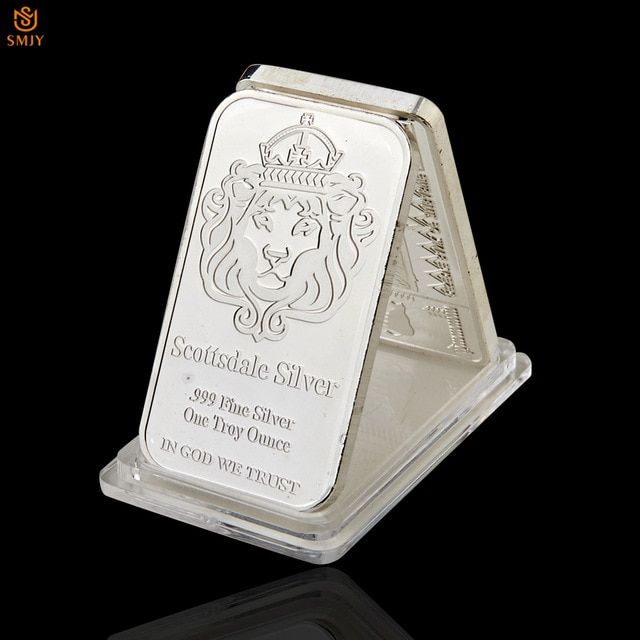 Rare 999 Fine Silver One Troy Ounce Usa Scottsdale Silver Plated Metal Souvenir Bullion Bars Coin With Protective Capsules Review Fine Silver Bullion Silver