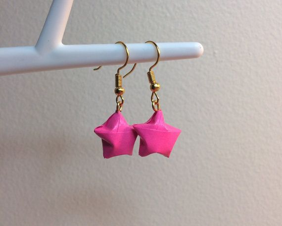Neon Pink Origami Star Earrings - Drop Earrings - Handmade Origami Jewelry - Lucky Star Earrings - Origami Stars - Paper Stars Earrings