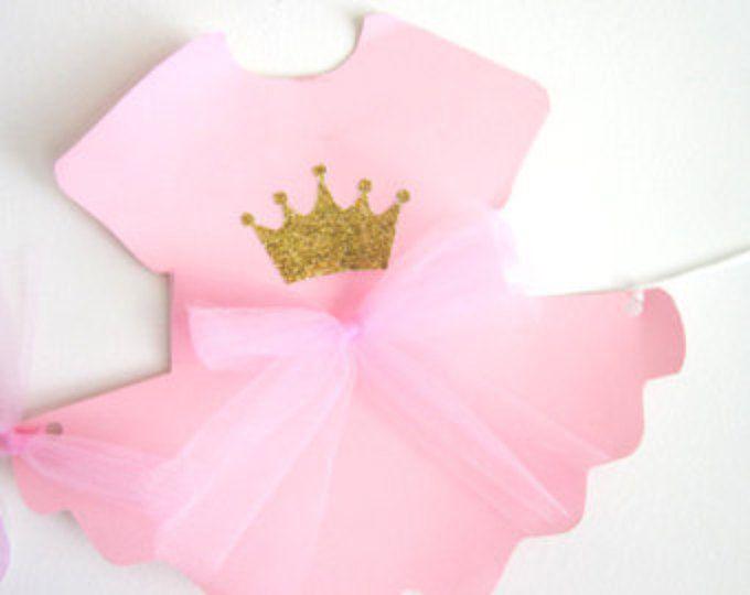 Princess Baby Shower, Banner de cumpleaños de princesa, Princess Baby Shower Banner, Banner rosa y oro - mono de Tutu