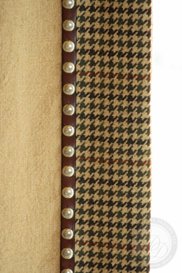 Traditional menswear accents for drapery: hounds tooth in chocolate and gold with nail head trim at the edge of banding. customizable bedding and draperies available DesignNashville
