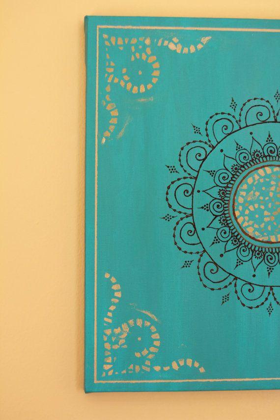 Teal/Turquoise Mandala Henna Canvas  12 X 12 by PrincessAzmirelda, $33.30