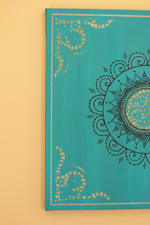 Verde azulado/turquesa Mandala Henna lona  12 X 12