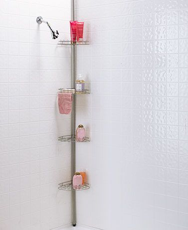 This 4-Tier Adjustable Corner Shower Caddy is a handy way to keep your bathtub organized. It features 4 levels of rotating shelves that each contain a washcloth