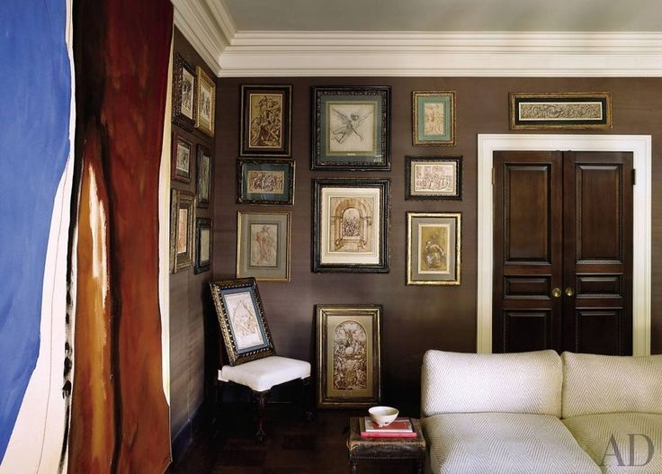 The painting Napoleon by Helen Frankenthaler shares a living area with Old Master drawings by Giorgio Vasari, Giuseppe Cesari, and others in the Manhattan apartment of fashion designer Kasper.