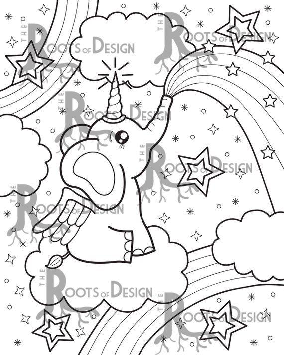 Instant Download Coloring Page El E Corn Elephant Unicorn Etsy
