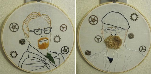 Embroidered portraits of the Mythbusters