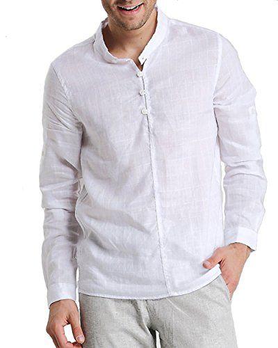 Mens collarless shirts linen artee shirt for Collarless shirts for men
