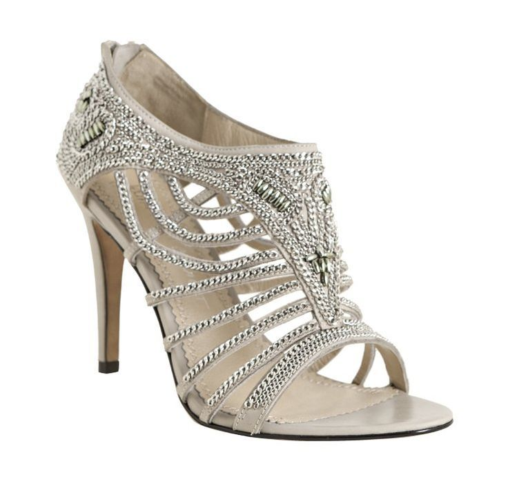Grey Rhinestoned Open Toe Wedding Shoes | Wedding Shoes Blog