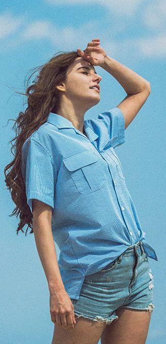 여름원단!시어서커 오픈카라 1/2 슬리브 포켓 셔츠, Model: 178cm / M 사이즈