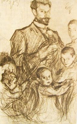"Л. О. Пастернак. ""Автопортрет с детьми"". 1903 (""Autoritratto con i bambini"" 1903)"