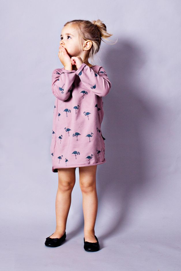 Children's clothing – Lovely CHILDREN'S DRESS made of cotton / Pink 'Flamingos' – a unique product by mamatu via en.DaWanda.com