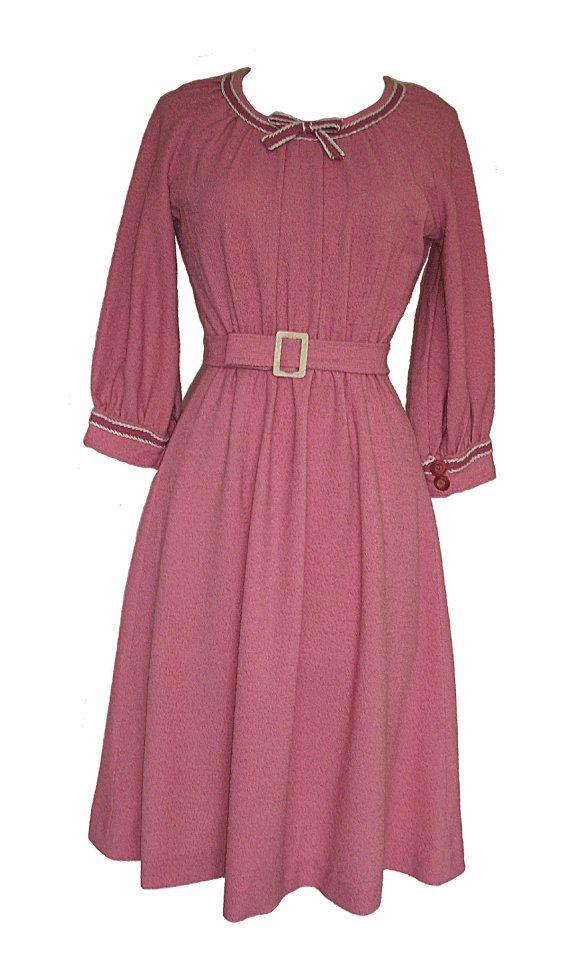 Womens/Ladies 1940's Vintage Rose Pink Dress by Diamondsarevintage, £24.99