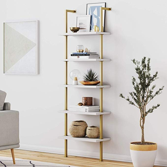 Amazon Com Nathan James 66001 Theo 5 Shelf Ladder Bookcase With Brass Metal Frame White Gold Kitche In 2020 Wall Mounted Bookshelves Bookshelves Diy Ladder Bookcase
