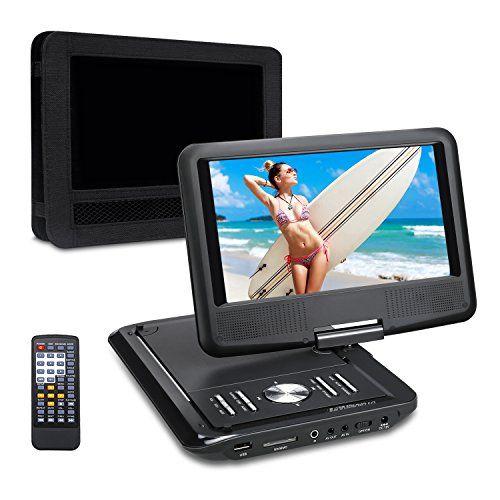 Pumpkin 9 Pouce Lecteur DVD Portable CD MP3 soutient USB SD avec Ecran Orientable 5 Heures Batterie Rechargeable Intégré 3m AC DC…