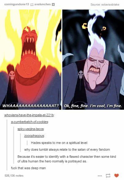 """I relate to Hades on a spiritual level // my favorite part of this tumblr post is """"because it's easier to identify with a flawed character then some kind of ultra human the hero normally is portrayed as"""""""