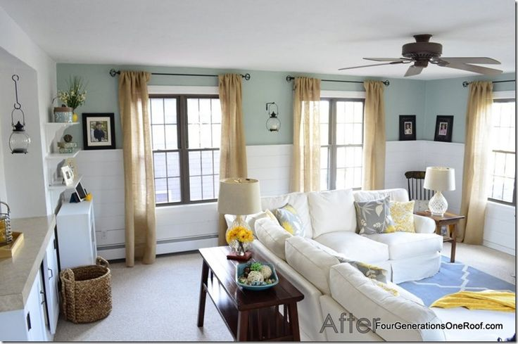 Love this family room from 4 Generations Under One Roof. That paint color is awesome: Benjamin Moore Wythe Blue.