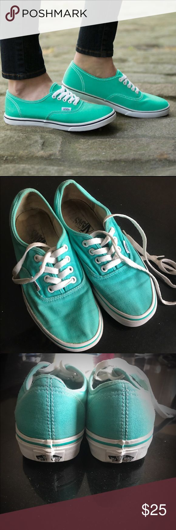 Mint Green Authentic Lo Pro Vans Mint green authentic lo pro vans. These are in decent shape, no stains on the exterior, bright in color and white edging no yellowing. Outside sole of the shoe shows very little evidence of wear, all tread in tact like new. Insole shows sign of wear, but no one sees that part anyway. Great shoe, make an offer! Vans Shoes