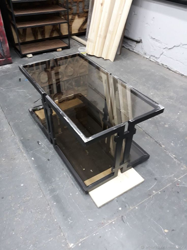 Купить Журнальный столик из стали и стекла в интернет магазине на Ярмарке Мастеров