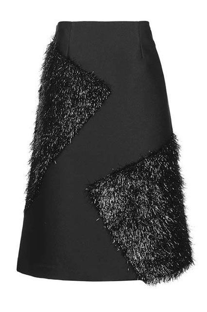 """These Are The 10 Most Popular Brands For New York Women #refinery29  http://www.refinery29.com/2016/11/129129/nyc-most-popular-clothing-brands#slide-24  Just think how good this would look with a furry sweater.Topshop Tinsel Patch Midi Skirt, $130, available at <a href=""""http://us.topshop.com/webapp/wcs/stores/servlet/ProductDisplay?searchTermScope=3&searchType=ALL&viewAllFlag=false&beginIndex=1&langId=-1&productId=22619354&pageSize=20&defaultGridLayout=3&CE3_E..."""