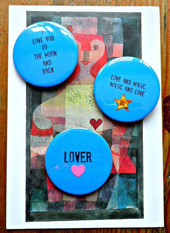 Playful mischievous creative badges/buttons 'My Lover xx' £7 Reddeerart #valentinesdaygiftideas #pinbadges